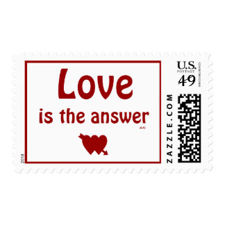 Love is the Answer Red Hearts Medium Stamp