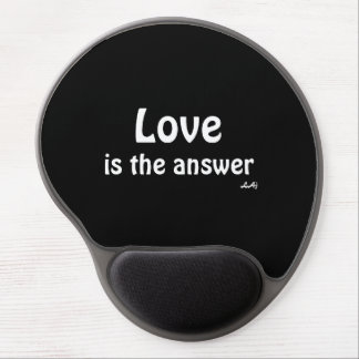 Love is the Answer White on Black Gel Mousepad