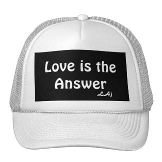Love is the Answer White on Black Hat