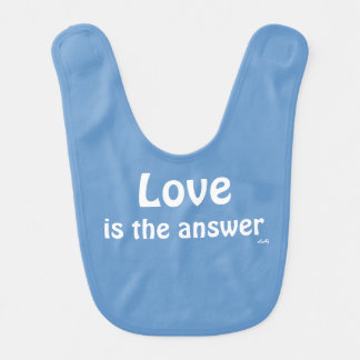 Love is the Answer White on Blue Baby Bib