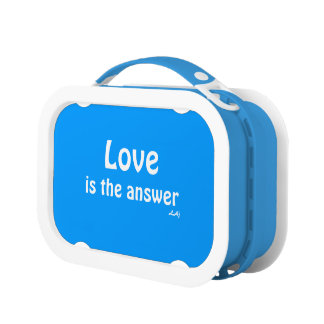 Love is the Answer White on Blue Lunch Box