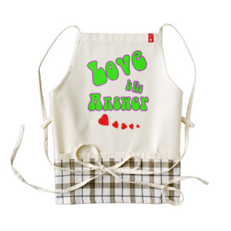 Love is the Answer with hearts Zazzle HEART Apron