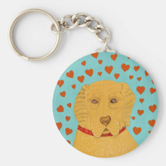 Love is the Goldens Rule- Stephen Huneck Basic Round Button Keychain
