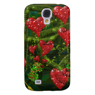 Love is Weird - Red Hearts on Strange Abstract Galaxy S4 Cover
