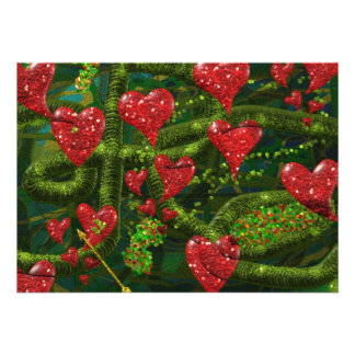 Love is Weird - Red Hearts on Strange Abstract Invites