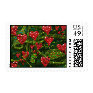 Love is Weird - Red Hearts on Strange Abstract Stamps