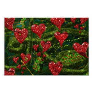 Love is Weird - Red Hearts on Strange Abstract Posters