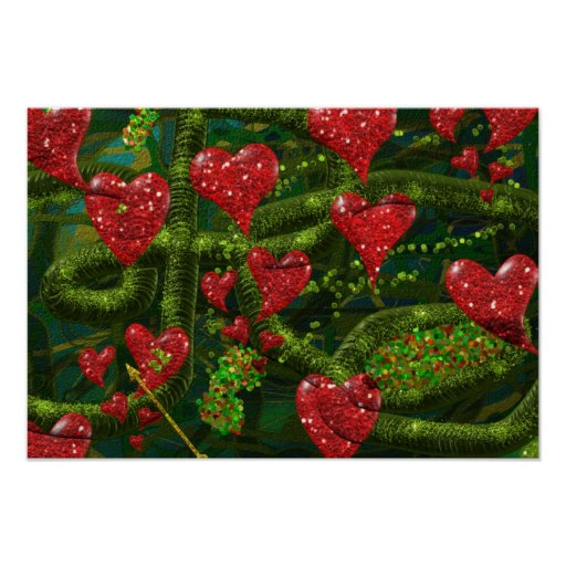 Love is Weird - Red Hearts on Strange Abstract Poster