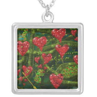 Love is Weird - Red Hearts on Strange Abstract Silver Plated Necklace