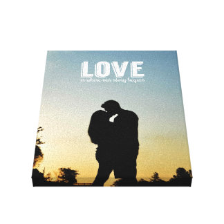 Love is Where our Story Begins Couple Photo Canvas