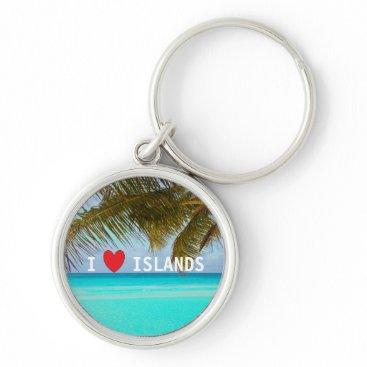 Beach Themed Love Islands Aqua Tropical Keyring Keychain