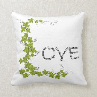 Love ivy Green white Throw pillow
