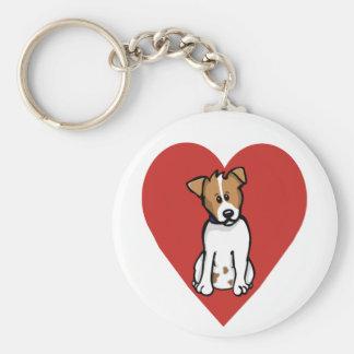 Love Jack Russell Basic Round Button Keychain