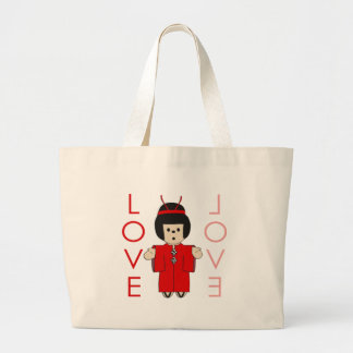 Love Japanese Doll Canvas Bags