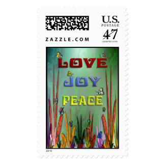 LOVE JOY AND PEACE POSTAGE STAMP