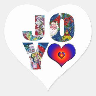 LOVE JOY COLORFUL HEARTS MUSICAL SANTA XMAS PARTY HEART STICKER