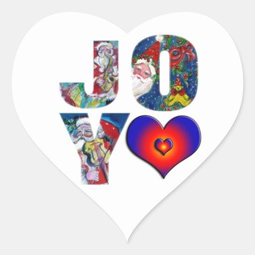 LOVE JOY COLORFUL HEARTS MUSICAL SANTA XMAS PARTY STICKER
