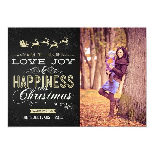 LOVE JOY HAPPINESS CHALKBOARD CHRISTMAS PHOTO CARD