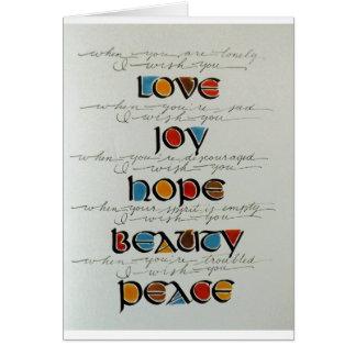 LOVE JOY HOPE PEACE BEAUTY NOTECARD