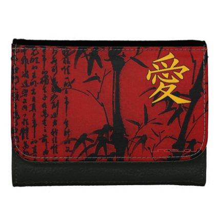 Love Joy Kanji Red Women's Wallets