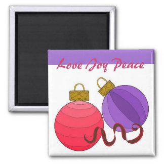 Love Joy Peace 2 Inch Square Magnet