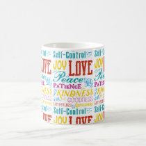Love Joy Peace Kindness Goodness Typography Art Coffee Mug