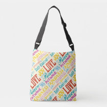Love Joy Peace Kindness Goodness Typography Art Crossbody Bag