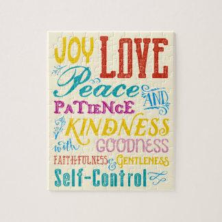 Love Joy Peace Kindness Goodness Typography Art Jigsaw Puzzle