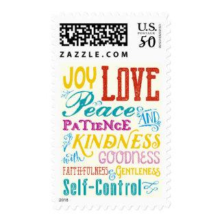 Love Joy Peace Kindness Goodness Typography Art Postage
