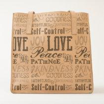 Love Joy Peace Kindness Goodness Typography Art Tote