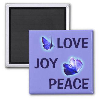 Love Joy Peace Purple Butterflies Magnet