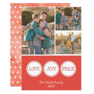 Love Joy Peace   Three Photo Christmas Card