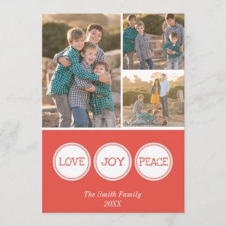 Love Joy Peace | Three Photo Christmas Card