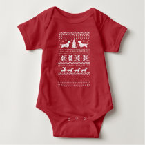 Love Joy Peace Wiener Dogs Christmas Pattern Baby Bodysuit