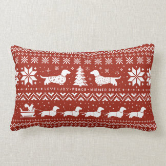 Love Joy Peace Wiener Dogs Christmas Pattern Lumbar Pillow
