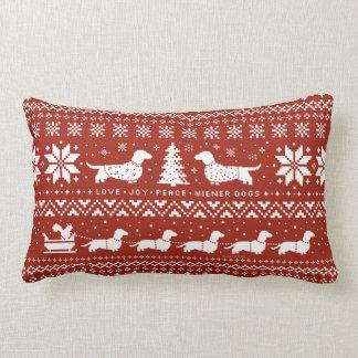 Love Joy Peace Wiener Dogs Christmas Pattern Throw Pillow