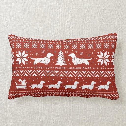 Joy Christmas Throw Pillows : Love Joy Peace Wiener Dogs Christmas Pattern Throw Pillow Zazzle