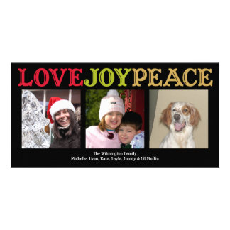 Love Joy Peace woodblock black Christmas greeting Photo Card