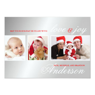 Love & Joy Silver Red Christmas Photo Card