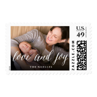 Love & Joy Simple Script Holiday Photo Stamps