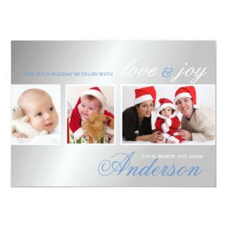 Love & Joy Tri-Photo Holiday Photo Card