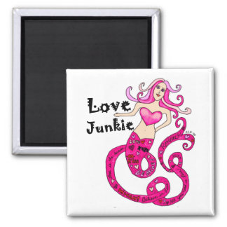 Love Junkie Mermaid Square 2 Inch Square Magnet