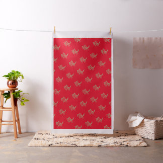 Love Kanji in Tan on Red Background Fabric