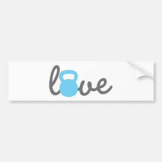 Love Kettlebell Blue Bumper Sticker