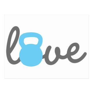 Love Kettlebell Blue Postcard