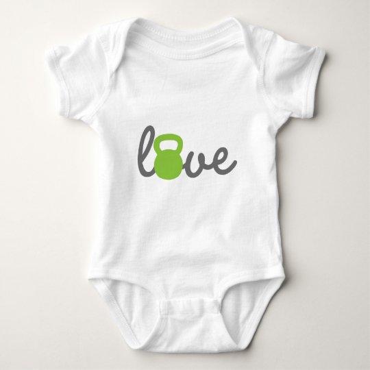 Love Kettlebell Green Baby Bodysuit