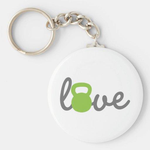 Love Kettlebell Green Basic Round Button Keychain