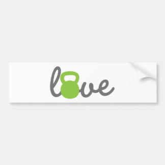 Love Kettlebell Green Bumper Sticker