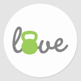 Love Kettlebell Green Classic Round Sticker