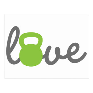 Love Kettlebell Green Postcard